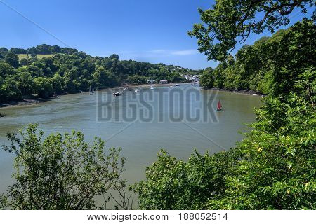 View from the hill to the Dart River next to Dittisham. Clear day. Summer. Devon. UK