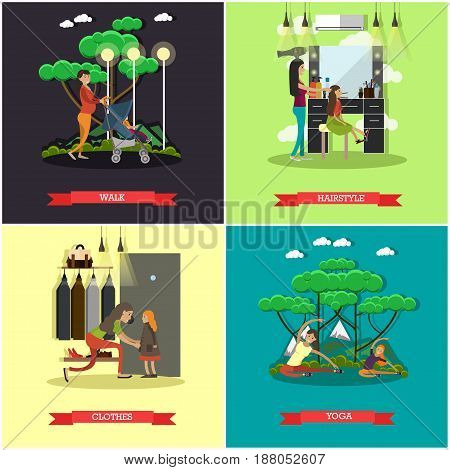 Vector set of mother square posters. Walk, Hairstyle, Clothes and Yoga flat style design elements.