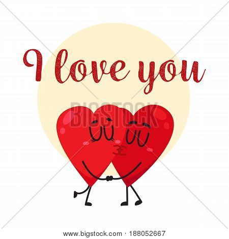I love you - greeting card, postcard, banner design with two kissing heart characters, cartoon vector illustration. Valentine day greeting card design with two heart characters kissing each other