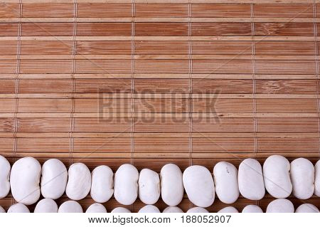 White Beans On  Bamboo Mat. Background Of  Bamboo Mat