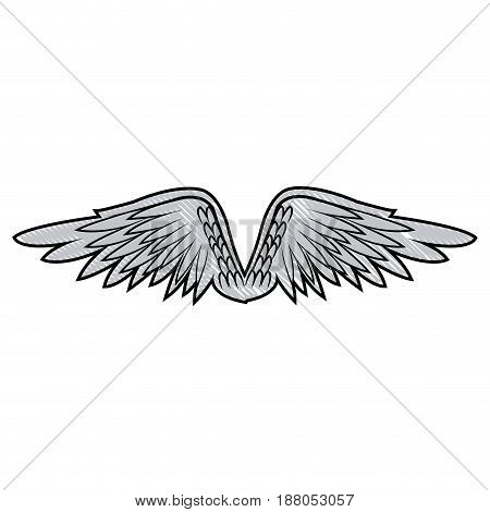 graffiti wings feathers decoration design image vector illustration