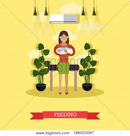 Vector illustration of happy young mother feeding her newborn baby with baby bottle. Artificial feeding flat style design element.