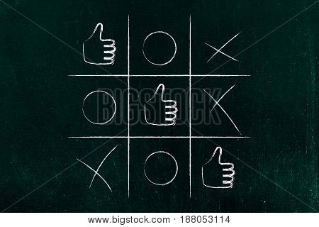 Tic Tac Toe Game With Line Of Thumbs Up Winning