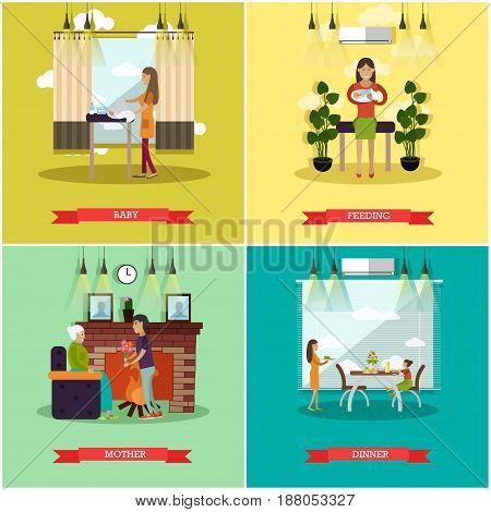Vector set of mother concept posters. Baby, Feeding, Mother and Dinner flat style design elements.