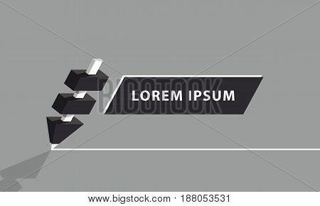 Black pencil with white core draws a white line. Pencil segments and banner template, flat style vector illustration.