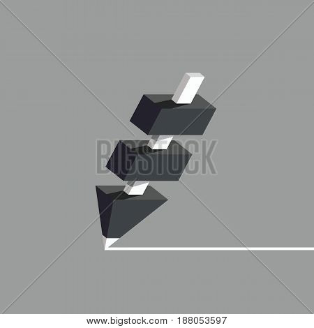 Black pencil with white core. Pencil structure with several segments, flat style vector illustration.