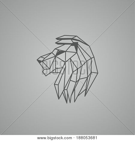 Linear lion head. Polygon style lion logo on a black background.