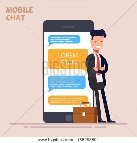 Happy businessman or manager is standing near a large phone or smartphone. Instant messaging service. Messaging service. Sms messenger. Flat character in flat style isolated on color background