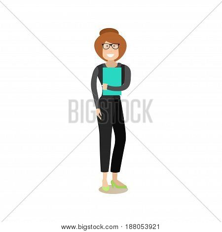 Vector illustration of smiling businesswoman standing with papers in hand. Office people flat style design element, icon isolated on white background.