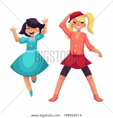 Two girls dancing at party, one in blue dress, another wearing skirt and leggings, cartoon vector illustration isolated on white background. Happy girls dancing, having fun at a kids party
