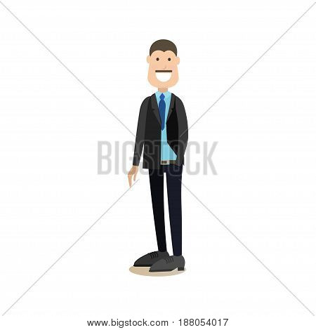 Vector illustration of smiling businessman in suit standing with one hand in pocket. Office people flat style design element, icon isolated on white background.