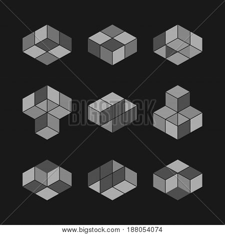 Cube logo concept vector illustration. Flat design style. Cube construction. Sign pattern. Graphic design. Fashion background abstract texture. Template for print textile wrapping.