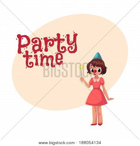 Girl celebrating birthday, holding star stick, wearing clown red nose, cartoon style invitation, banner, poster, greeting card design. Party invitation, advertisement, little girl in birthday