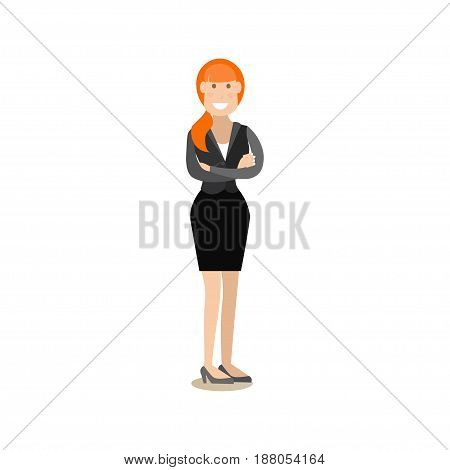 Vector illustration of smiling businesswoman standing with arms crossed. Office people flat style design element, icon isolated on white background.