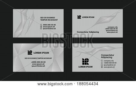 Gray business cards set. Abstract polygonal style background for personal business card.