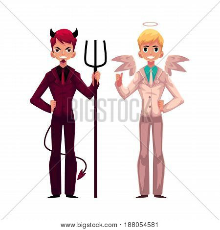 Male angel and devil characters in business suits, decision making concept, cartoon vector illustration on white background. Business men dressed as angel and devil, making ringht choice, decision