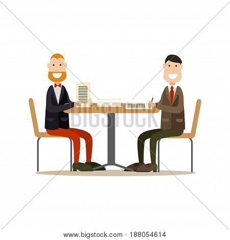 Vector illustration of two businessmen signing agreement. Business partners concluding contract. Office people flat style design elements, icons isolated on white background.
