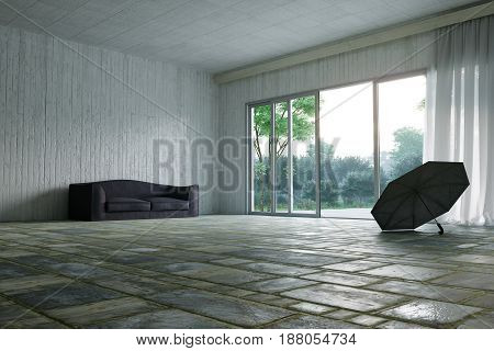empty hall with sofa and garden nature view concept photo background