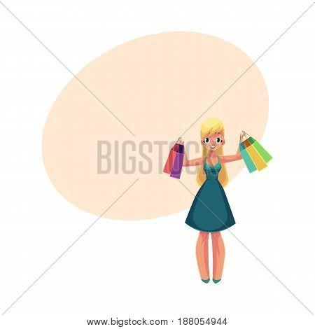 Happy blond girl, woman in summer dress holding shopping bags, sale concept, cartoon vector illustration with space for text. Blond girl, woman with many shopping bags, happy shopping concept