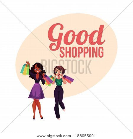 Poster, banner template with happy black and white girl, woman holding shopping bags, cartoon vector illustration. Poster, banner with happy black and white girls, women, friends holding shopping bags