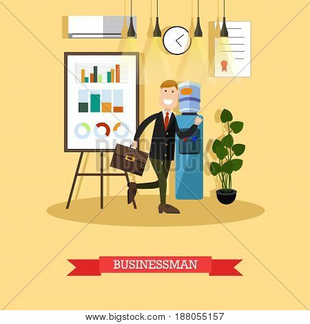 Vector illustration of businessman running with briefcase. Modern office interior, whiteboard for presentation, water cooler. Flat style design.