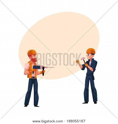 Two workers, builders in helmets and overalls drilling the wall, hammering nails, cartoon vector illustration with space for text. Construction workers, builders working on both sides of wall