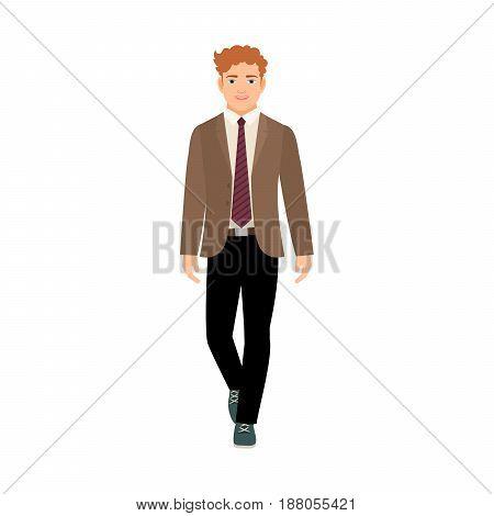 Happy Schoolboy In Brown Jacket