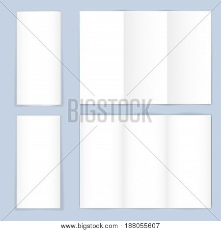Blank trifold paper brochure on gray background. Vector illustration.