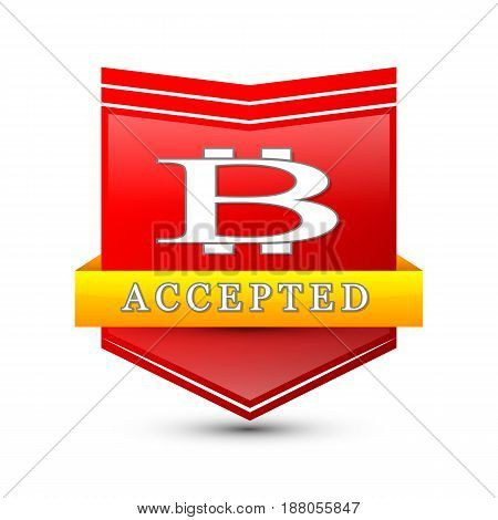 Vector illustration of red colored shield with bitcoin logo and accepted word isolated on white.
