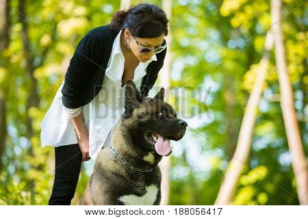 The woman is spending time with American Akita dog in a park