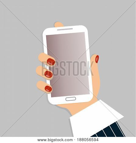 A mobile phone in the female`s hand. A smartphone in businesswoman`s hand. A sleeve of white shirt and a blue striped suit. Red nails. Vector illustration.
