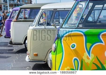 Scheveningen beach the Netherlands - May 21 2017: VW kombi camper wagens at Aircooled classic car show