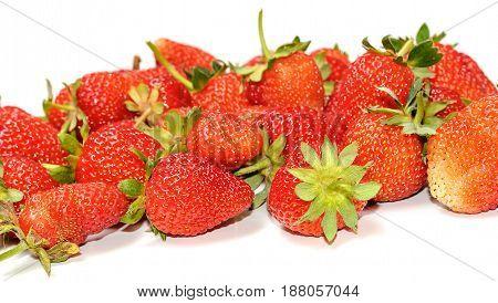 Fresh ripe and juicy strawberry isolated on white background.