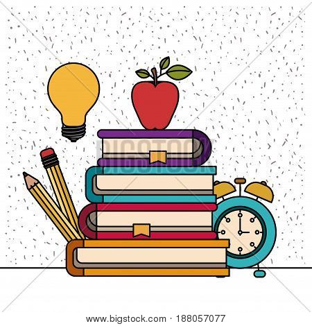 white background with sparkles of color set college education items vector illustration