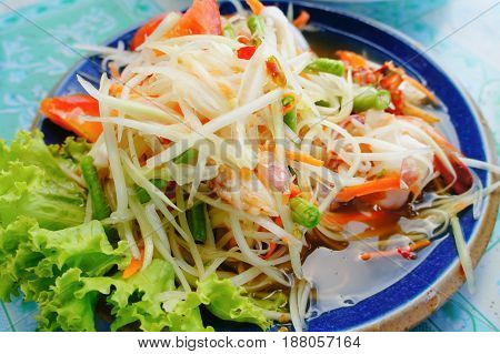 Papaya Salad (Som Tum) Thai local food.