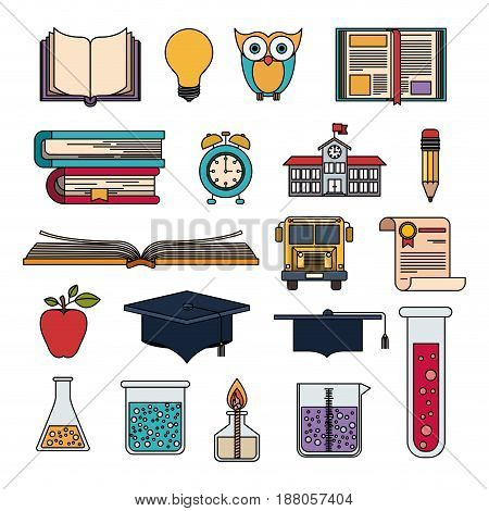 colorful set college education items with educational elements vector illustration