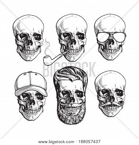 Set of human skull bones with sunglasses, beard, moustache, smoking pipe, sketch vector illustration isolated on white background. Hand drawn skull with smoking pipe, cap, hipster beard, sunglasses