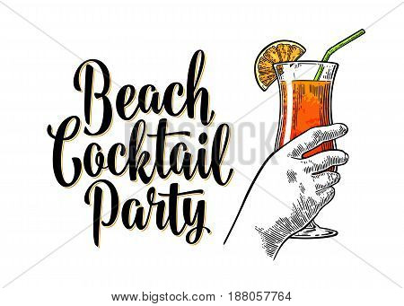 Alcohol cocktail sex on the beach with slice lemon and straw. Vintage vector engraving illustration with lettering. Isolated on white background. For poster, menu, invitation to summer party.