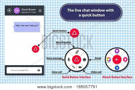The live chat window with a quick button. This is the design of the application for communication. The illustration shows the window for a chat and a quick button. The button has a circular shape. When someone clicks on this button, the main menu items ap