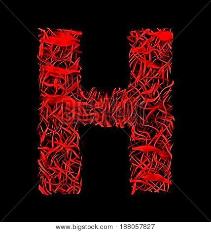 Letter H Red Artistic Fiber Mesh Style Isolated On Black