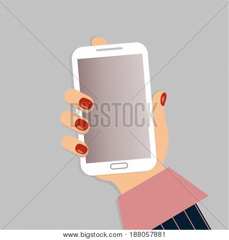 A mobile phone in the female`s hand. A smartphone in businesswoman`s hand. A sleeve of pink shirt and a blue striped suit. Red nails. Vector illustration.