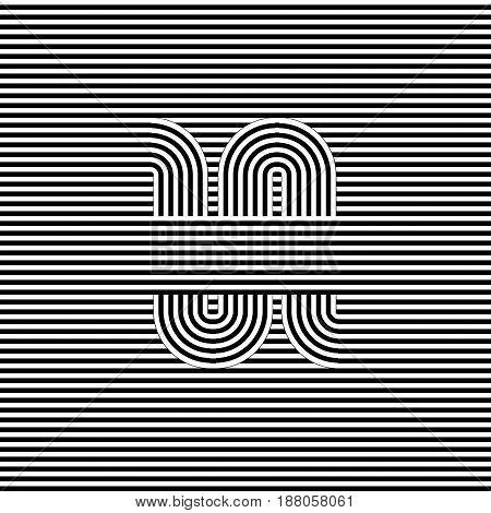 Curved Striped Seamless Pattern. Vector Illustration. Geometric Striped Ornament. Monochrome Backgro
