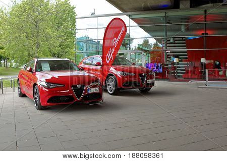 Dusseldorf, Germany - May 11, 2017: Red New Alfa Romeo Guilia Veloce And Alfa Romeo Stelvio Were Pre