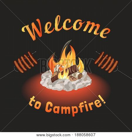 Campfire icon. Freehand drawn cartoon style. Fancy letters. Grilled smoked sausages. Base camp fire rocks ring. Wood logs burning in flame. Outdoor Campsite sign. Camping advertising banner background