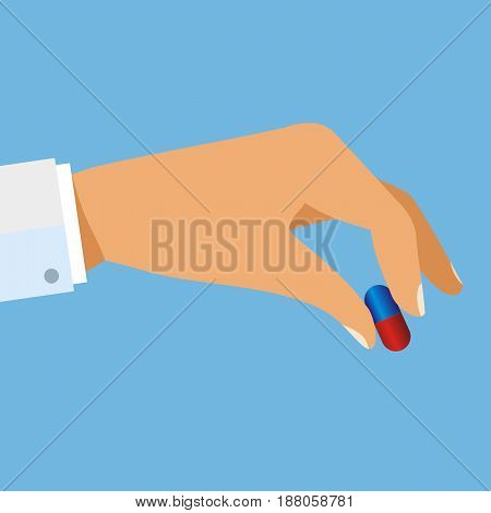 Taking the pills. Doctor hand holding capsule tablet. Medical treatment concept. Healthcare. vector illustration in flat design.