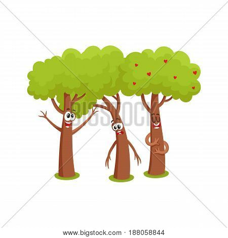 Three funny comic tree characters talking, sad, hussing, garden, love, friendship concept, cartoon vector illustration isolated on white background. Set of three funny tree characters, mascots