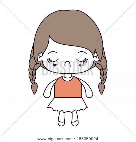 silhouette color sections and light brown hair of kawaii little girl with braided hair and facial expression disgust vector illustration