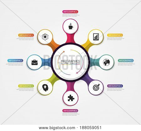 Circle infographics. Template for diagram with eight steps. Vector illustration