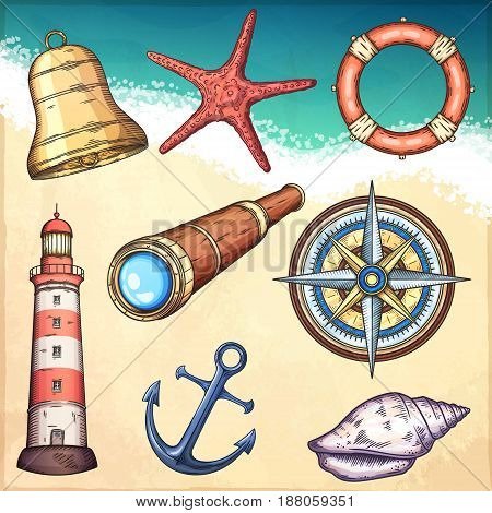 Nautical illustrations set. Hand drawn isolated vector drawings.