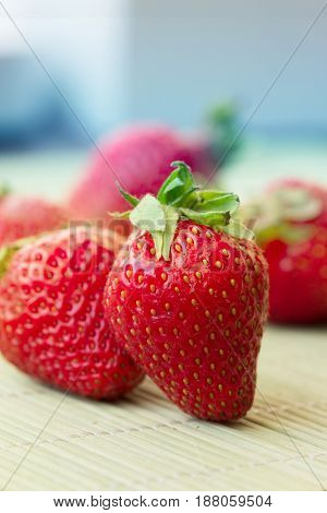 Red Strawberry, red close up strawberries.  fruit close up background
